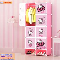 Tủ nhựa ghép 8 ô và 2 ô giầy hồng phấn, cánh kitty chấm bi