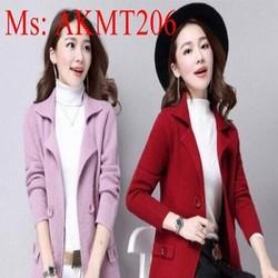 Áo khoác nữ thu đông đính nút sành điệu và phong cách AKMT206