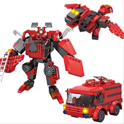 Bộ lắp ghép Robot - Khủng long - Xe cứu hỏa gồm 169 miếng
