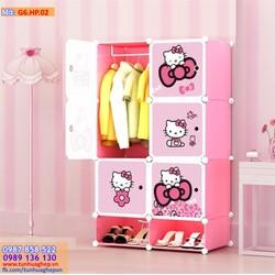 Tủ ghép nhựa 6 ô và 2 ô giầy hồng phấn, cánh kitty chấm bi
