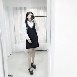 Set áo sơmi tay dài + Đầm cổ V