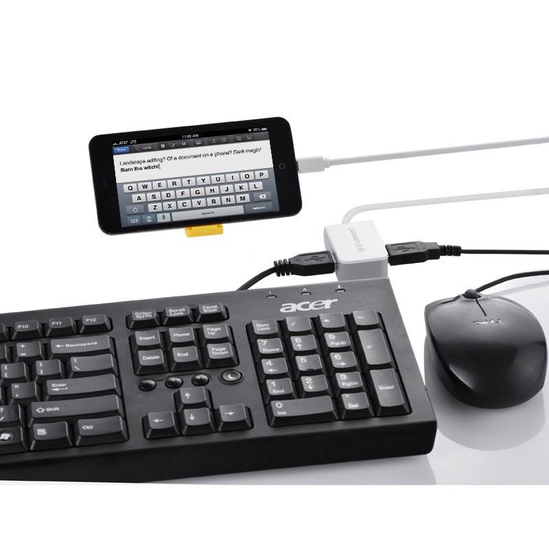 Cáp OTG to 2 cổng USB 2.0 hỗ trợ nguồn sạc chính hãng Ugreen UG-30273 1