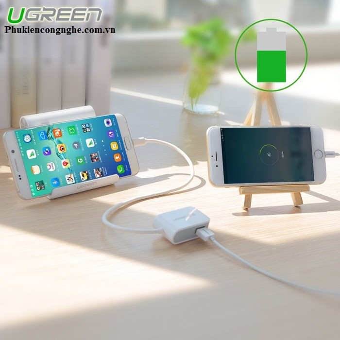 Cáp OTG to 2 cổng USB 2.0 hỗ trợ nguồn sạc chính hãng Ugreen UG-30273 3