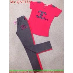 Bộ thể thao nữ áo ngắn tay phối quần dài họa tiết xinh đẹp tQATT322