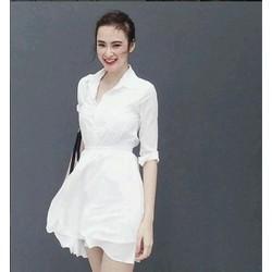 Đầm voan trắng cổ sơmi