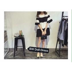 Đầm babydoll trắng đen kèm quần thun