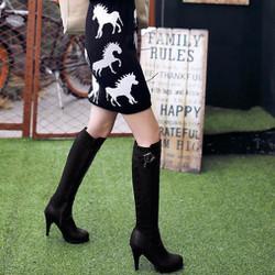 Giày boots nữ cổ cao phong cách Hàn Quốc B057