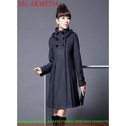 Áo khoác dạ nữ kiểu hàn quốc đính nút sành điệu duyên dáng AKMT214