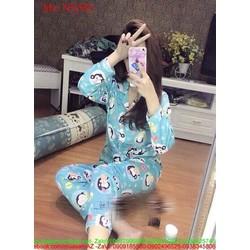 Đồ bộ nữ mặc nhà pyjama tay dài hình chú khỉ ngộ nghĩnh NN501