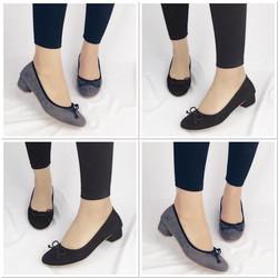 giày búp bê gót vuông thắt nơ 1319