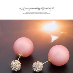 Bông tai ngọc trai ngôi sao đính kim cương phong cách Hàn Quốc