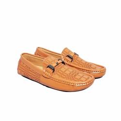 Giày nam da bò thật vân kiểu cách cao cấp ELMI màu nâu vàng ESM47