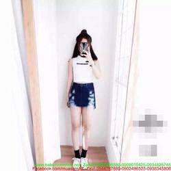 Chân váy jean kiểu giả quần sành điệu cào xước cá tính CVJ21