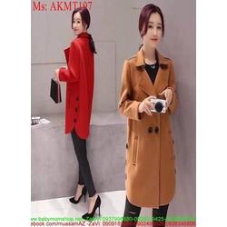 Áo khoác dạ thu đông vạt bầu đính nút sành điệu thời trang AKMT197