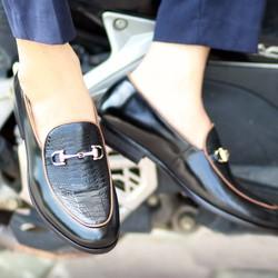 Giày lười da thật khóa sắt cực ngầu và chất