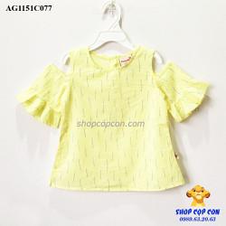 Áo kiểu rớt vai tay loe màu vàng
