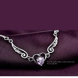 Lắc tay bạc 925 trái tim cánh thiên thần BH329