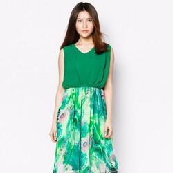 Đầm Maxi Phối Voal Hoa Mùa Hè