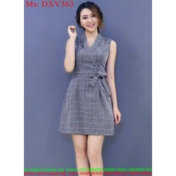 Đầm xòe caro kẻ ô thắt nơ xinh đẹp duyên dáng DXV363