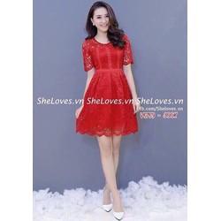 Đầm xoè ren tay ngắn viền siêu đẹp