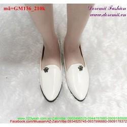 Giày mọi nữ da bóng mũi nhọn xinh xắn GM136