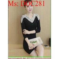 Đầm body len nữ tay dài đính hạt viền sóng sang trọng DOC281