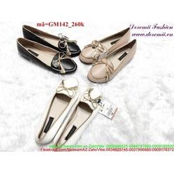 Giày mọi nữ viền vàng đính nơ siêu xinh GM142