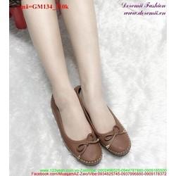 Giày mọi nữ viền chỉ nổi đính nơ dễ thương GM134