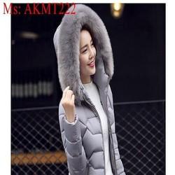 Áo khoác phao nữ dài tay kiểu dáng hàn quốc sành điệu AKMT222