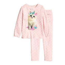 Bộ bé gái mèo chấm bi hồng - hàng nhập Nhật