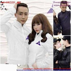 Áo khoác cặp tình nhân logo tam giác tím sành điệu AKC231