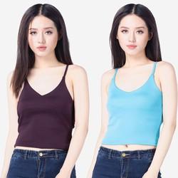 Bộ 2 áo yếm nữ len mỏng hai dây cổ tim ZENKO 2AO TOP NU 032 TUR P
