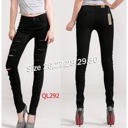 Quần jean đen lưng cao 1 nút rách 2 bên cá tính