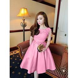 Đầm Xòe Vintage Phối Ren Cao Cấp