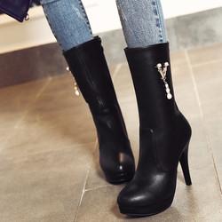 Giày boot nữ cổ cao phong cách Hàn Quốc B051