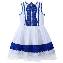 Váy trắng phối xanh  họa tiết tinh tế dành cho bé gái từ 3 đến 8 tuổi