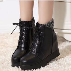 Giày boot nữ cổ cao phong cách Hàn Quốc B050