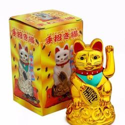 Mèo Thần Tài Có Quạt Mang May Mắn Đến Mọi Nhà Loại Lớn