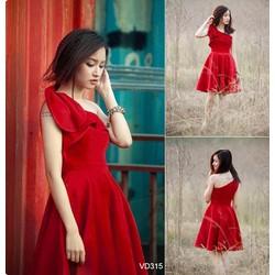 Đầm xòe đỏ bèo lệch vai quyến rũ