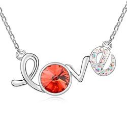 Dây chuyền bạch kim chữ Love đính pha lê đẹp thời trang