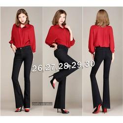 Quần jean đen lưng cao 1 nút ống loe cực hot