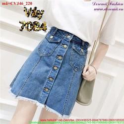 Chân váy Jean nữ 5 nút phối túi lai tua rua bụi bặm CVJ46