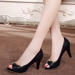 HÀNG LOẠI I CAO CẤP - Giày cao gót phối viền vàng