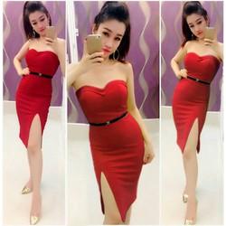 Đầm body cúp ngực xẻ đùi kèm belt Ngọc Lang Phương
