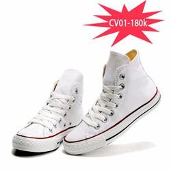 Giày convers cao cổ nữ màu trắng