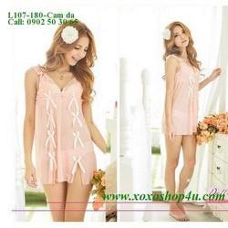 Váy ngủ xinh xắn thun lưới mịn màu hồng da gợi cảm