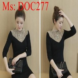 Đầm body nữ len đen đính hạt sang trọng cá tính DOC277