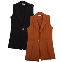 Bộ 2 áo khoác vest blazer nữ form dài sát nách ZENKO CS3 004 B CA