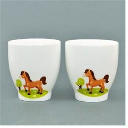 Bộ hai ly sứ cao cấp Donghwa in hình ngựa
