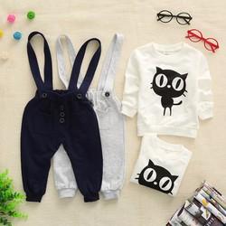 Set quần yếm và áo tay dài hình mèo cho bé từ 2 đến 8 tuổi